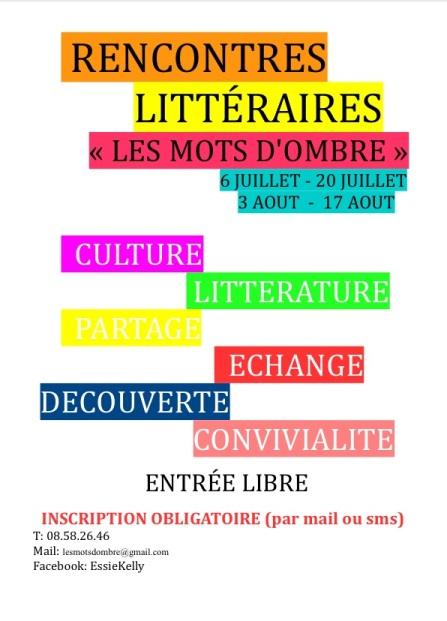 """Affiche de la première édition des rencontres littéraires """"les Mots d'Ombre"""" à Abidjan en 2013"""